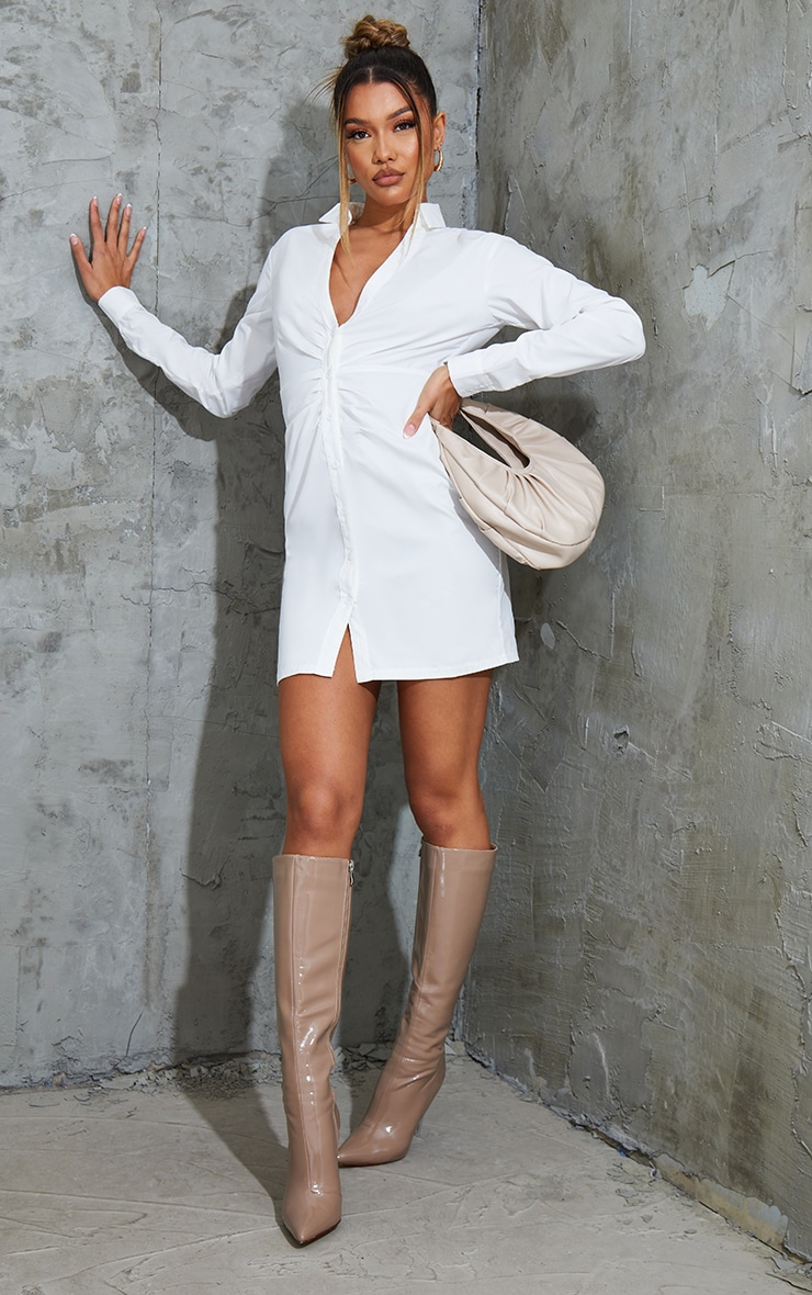 White Ruched Waist Detail Plunge Shirt Dress 3
