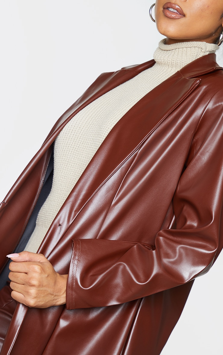 Chocolate Longline Lapel Detail Faux Leather Blazer 4