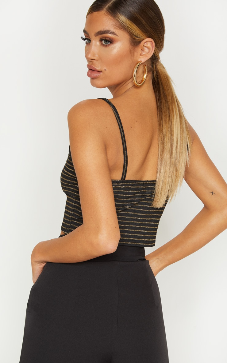 Black Rib Glitter Stripe Strappy Crop Top 2
