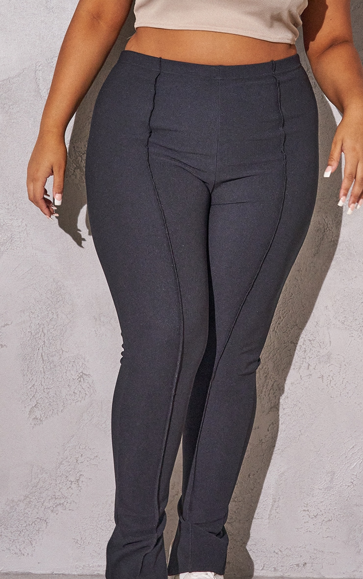 RENEW Plus Black Rib Contrast Seam Split Hem Leggings 4