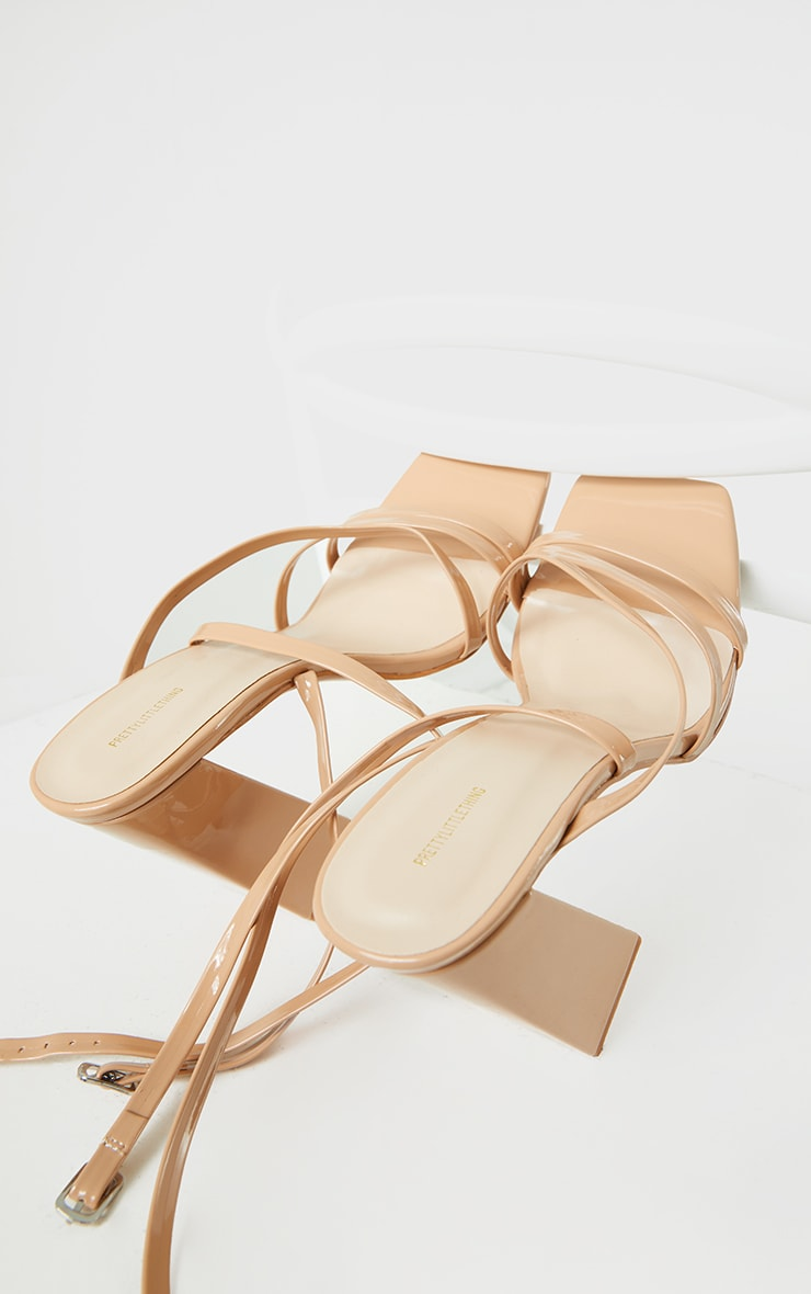 Nude Patent PU Square Toe Strappy High Block Heeled Sandals 4