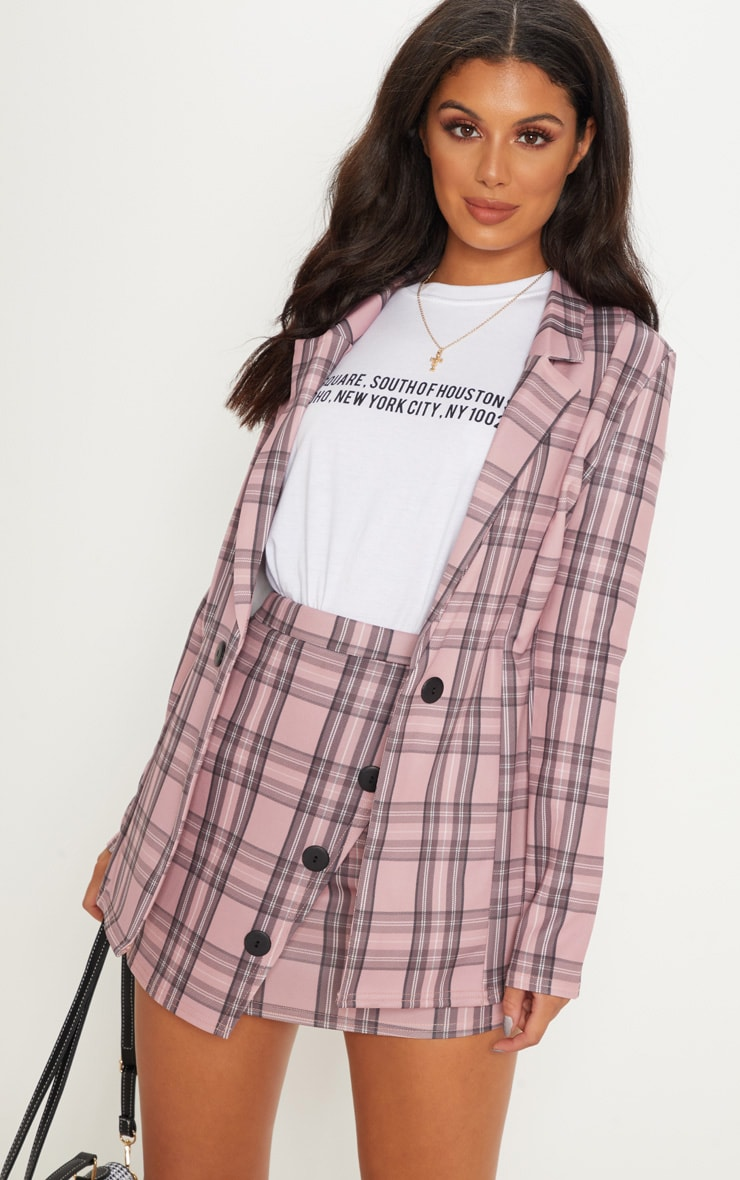 Pink Checked Boyfriend Blazer  1