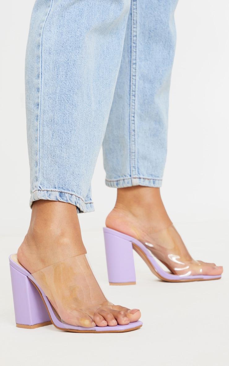 Lilac Square Toe Block Heel Clear Mules 1
