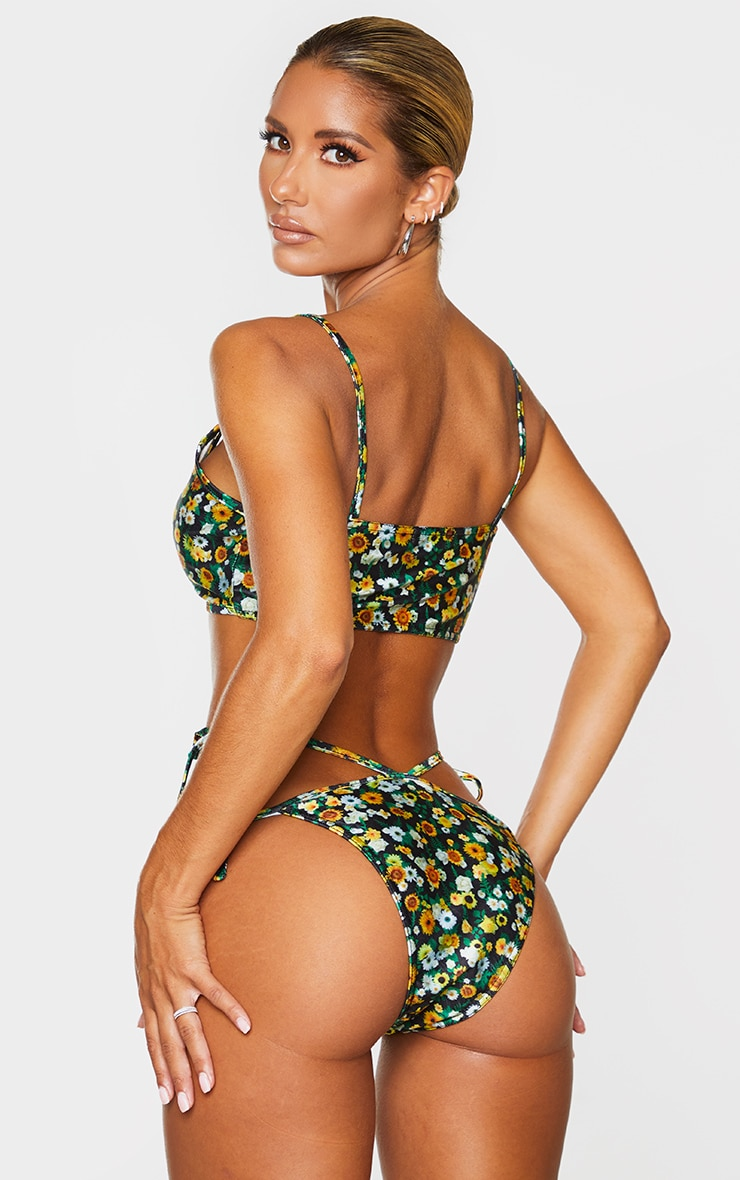 Yellow Ditsy Floral Ring Scoop Neck Bikini Top 2