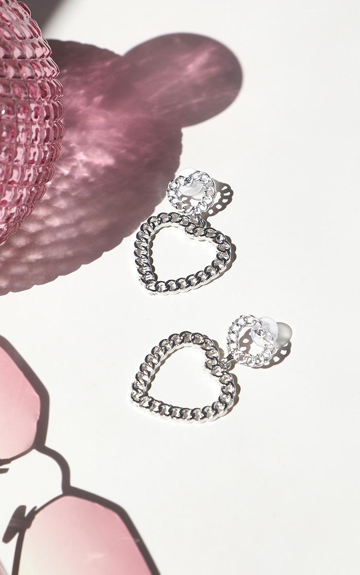 Silver Chain Heart Drop Earrings 1