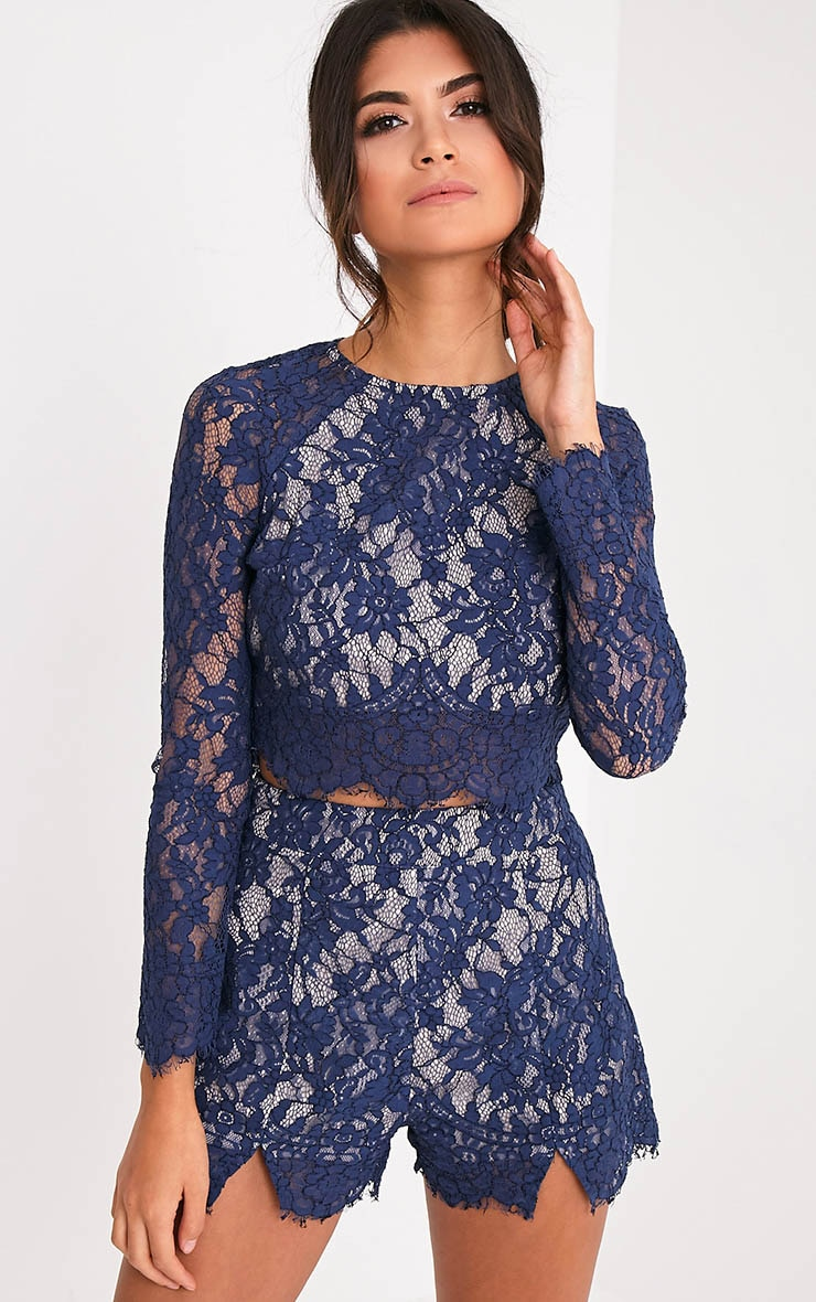 Ellena Navy Lace Shorts 1
