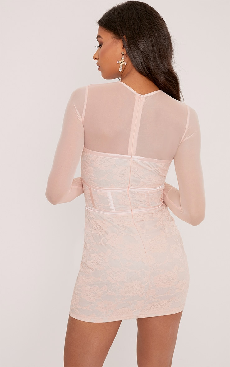 Kalla Blush Corset Detail Lace Bodycon Dress 2