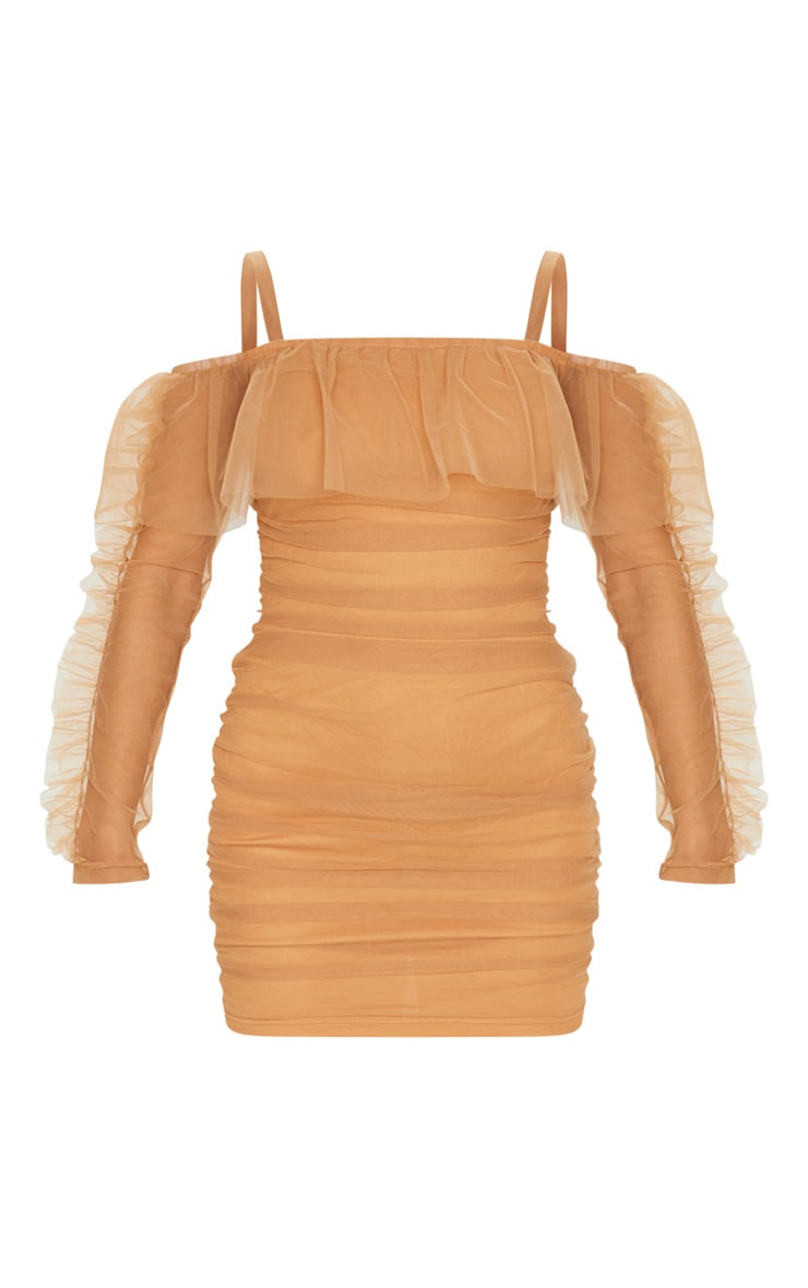 Nude Organza Ruched Bardot Frill Bodycon Dress 5