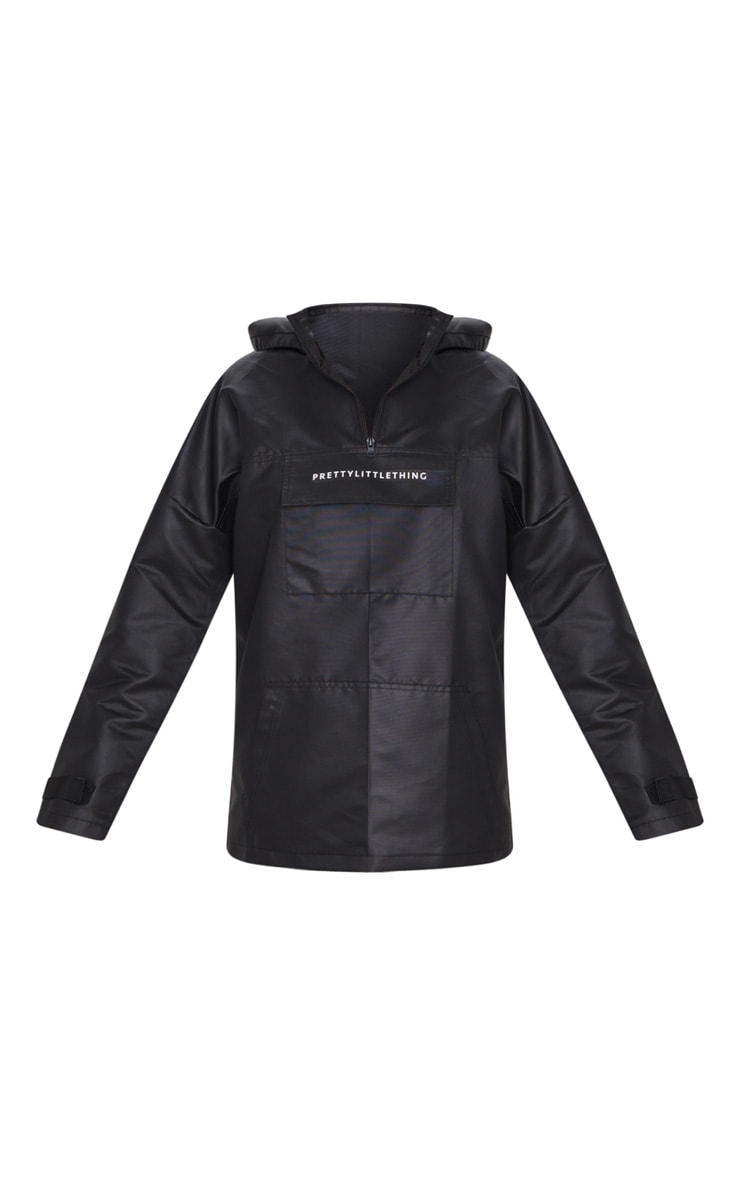 PRETTYLITTLETHING Black Pocket Front Hooded Pull Over Mac 5