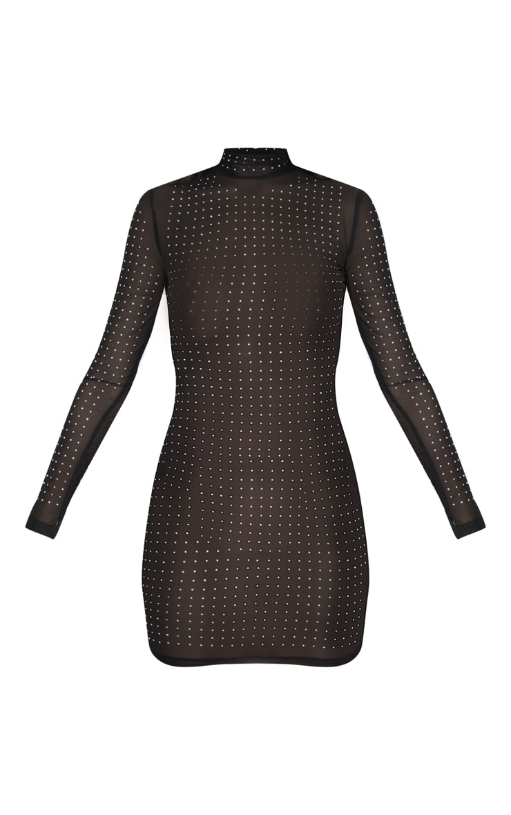 Black High Neck Diamante Detail Mesh Bodycon Dress 3