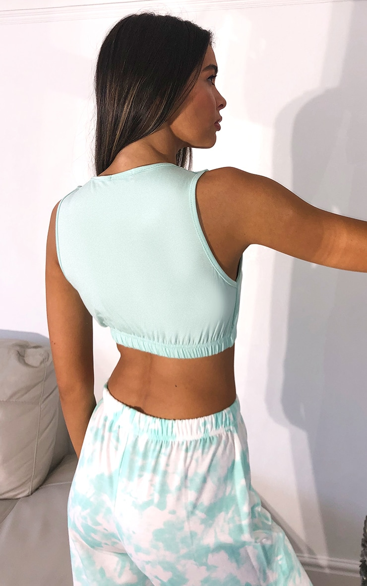 Mint Scoop Neck Crop Top 2