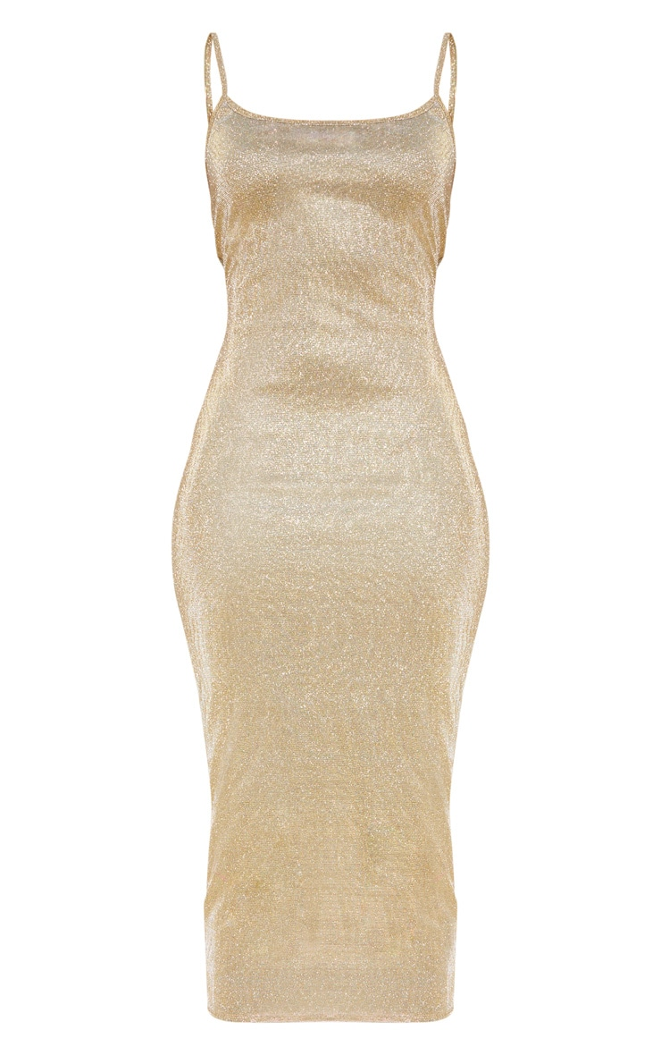 Gold Strappy Glitter Midaxi Dress 3