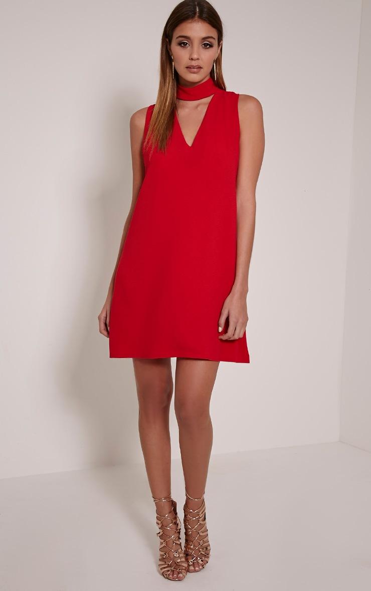 Cinder Red Choker Detail Loose Fit Dress 3