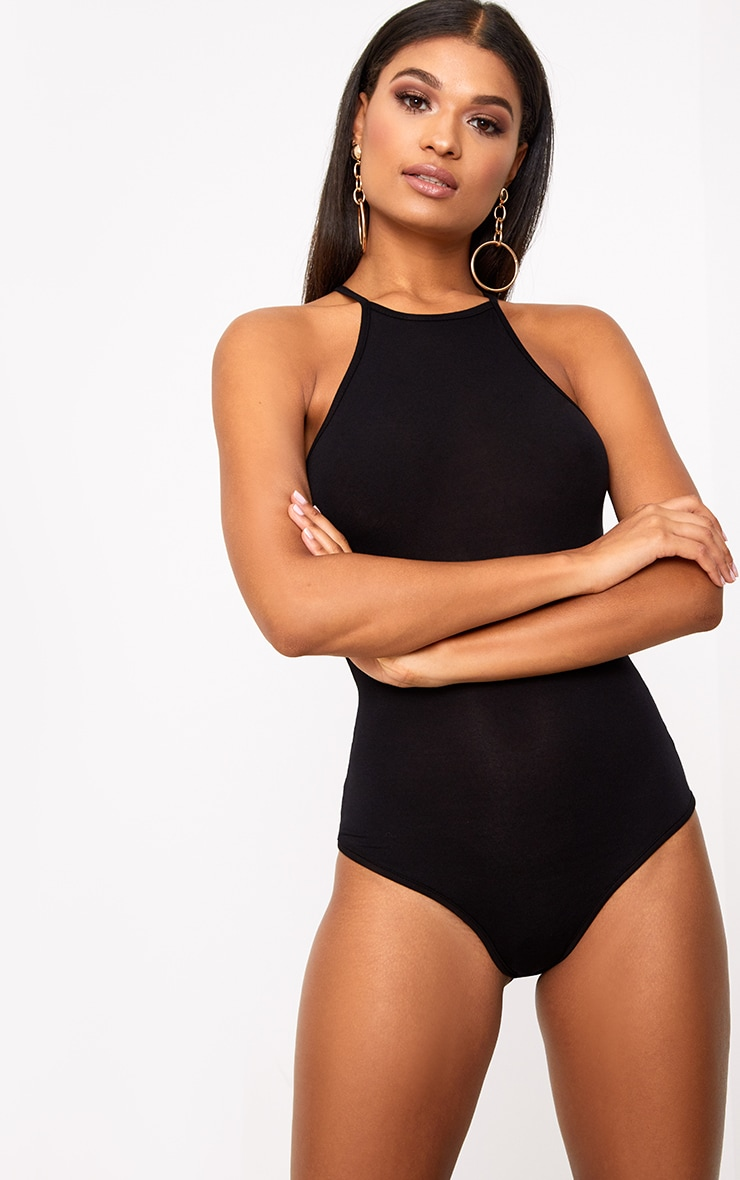 Basic Black Racer Neck Thong Bodysuit 1