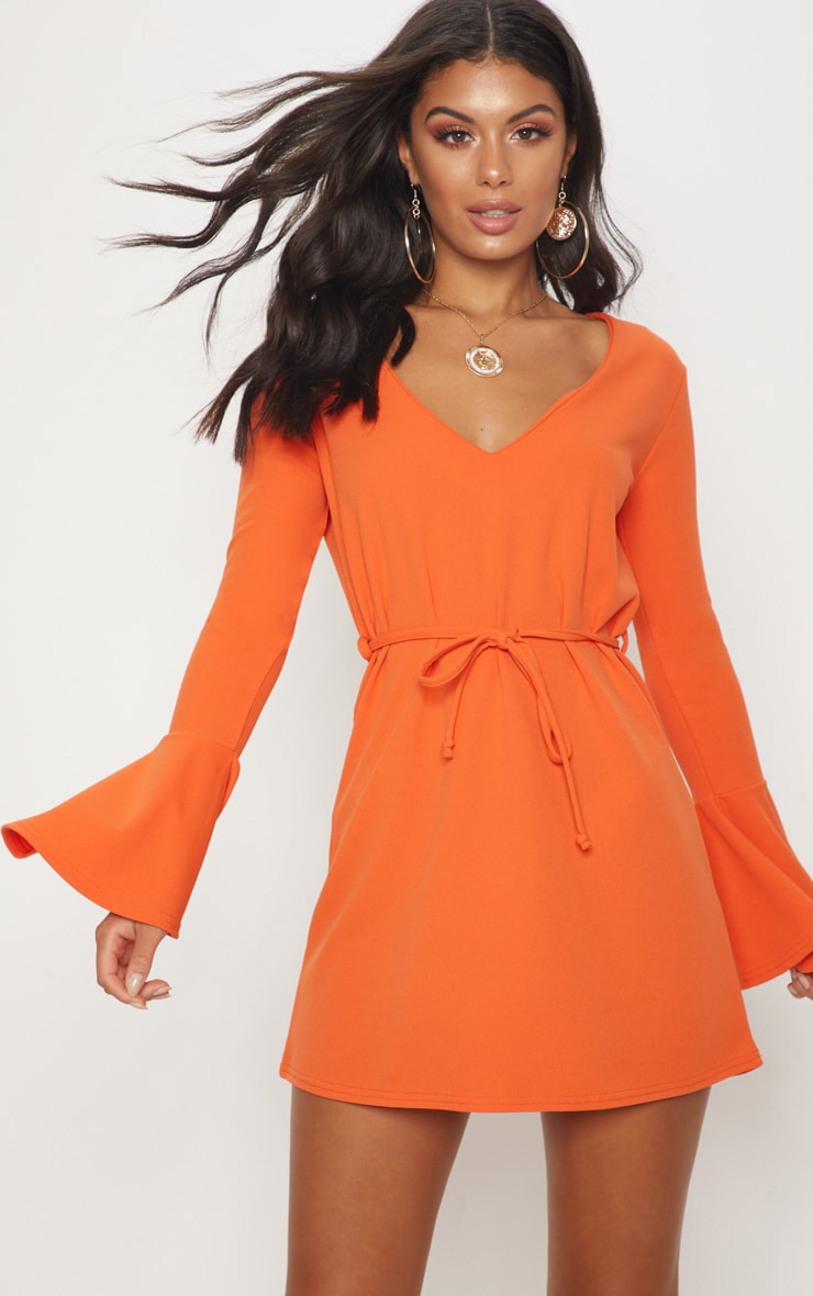 Bright Orange Flared Sleeve Tie Detail Shift Dress