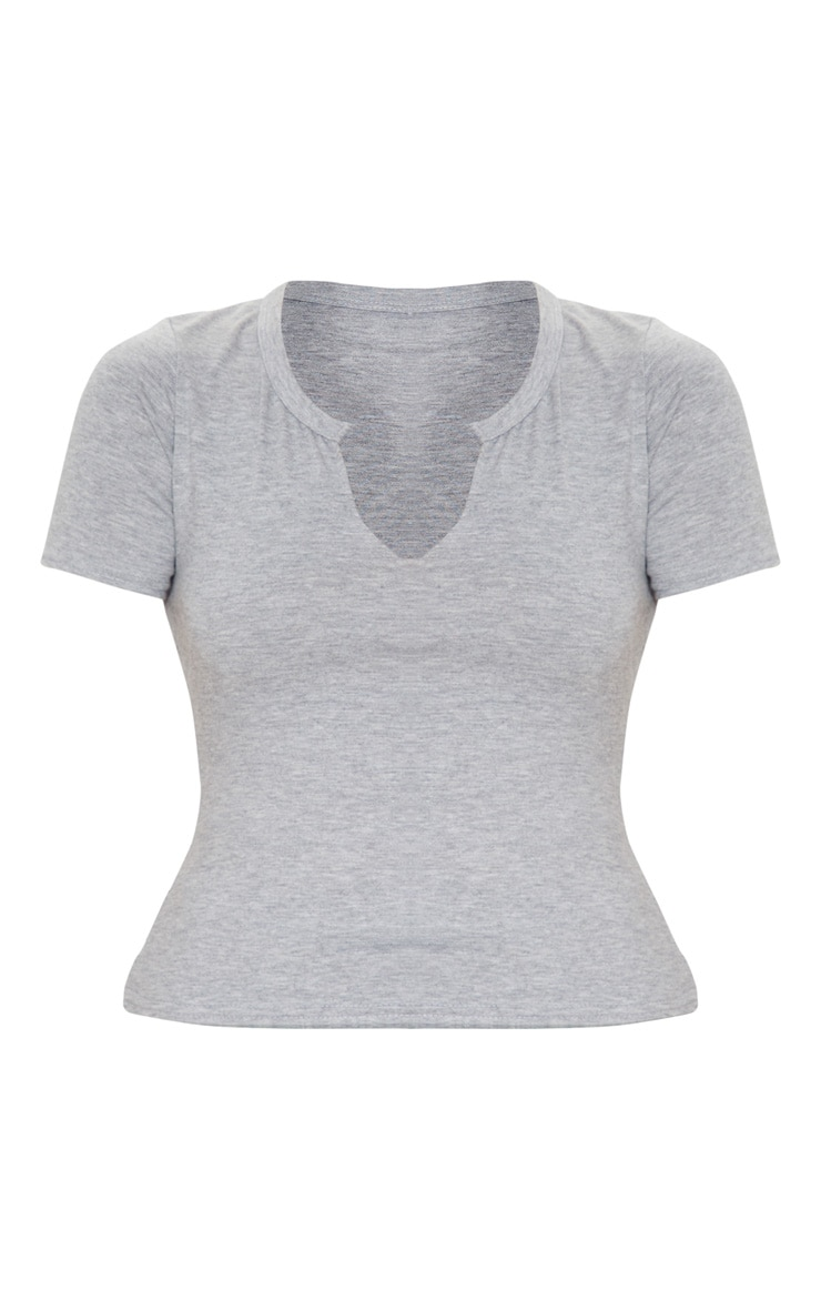 Grey Jersey V Short Sleeve T Shirt 3