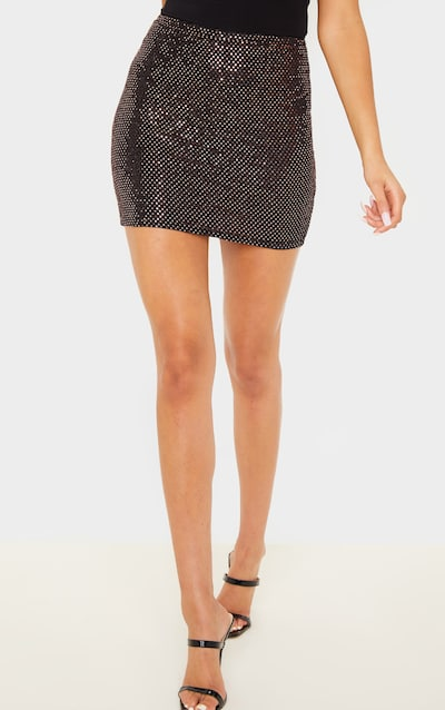 Rose Gold Sequin Ruched Bum Mini Skirt