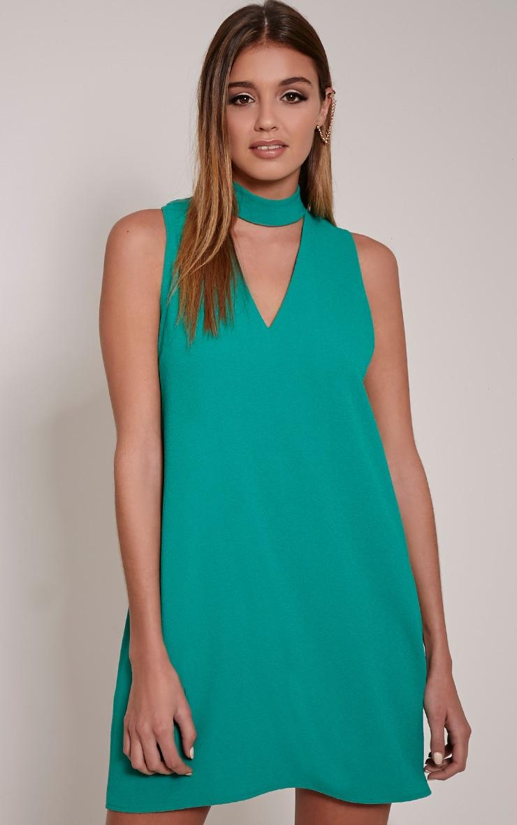 Cinder Bottle Green Choker Detail Loose Fit Dress 1