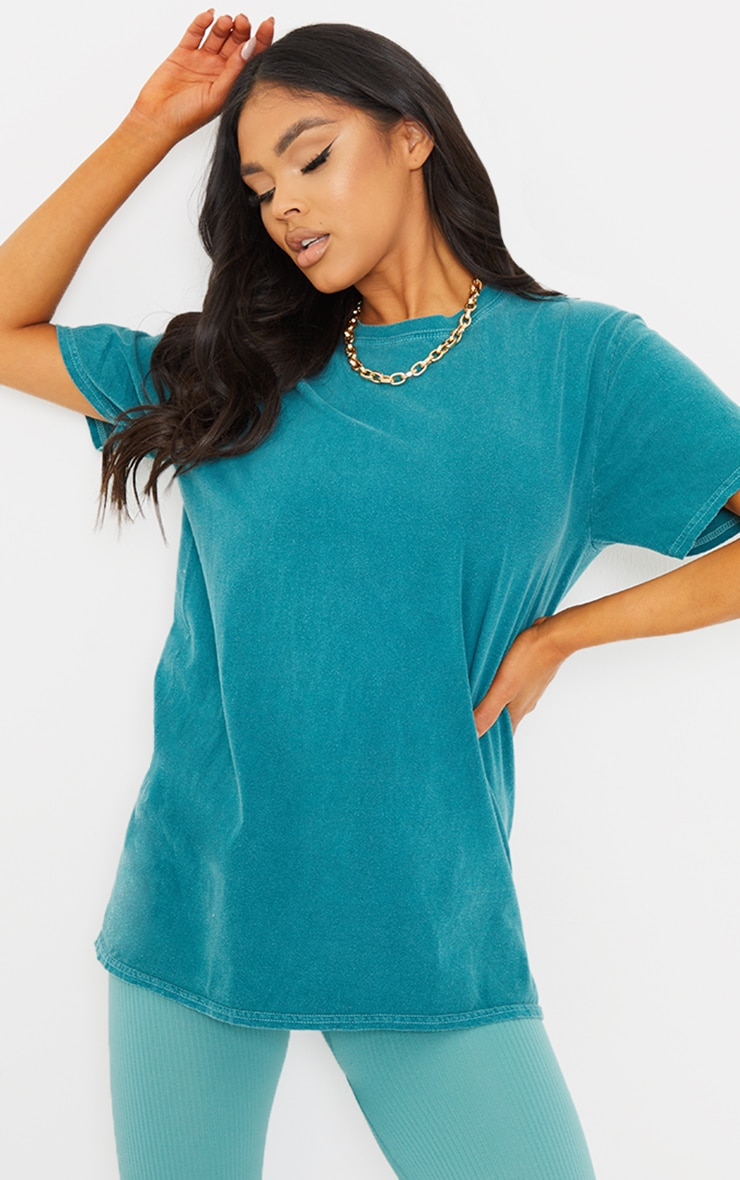 Forest Green Washed Oversized T Shirt 1