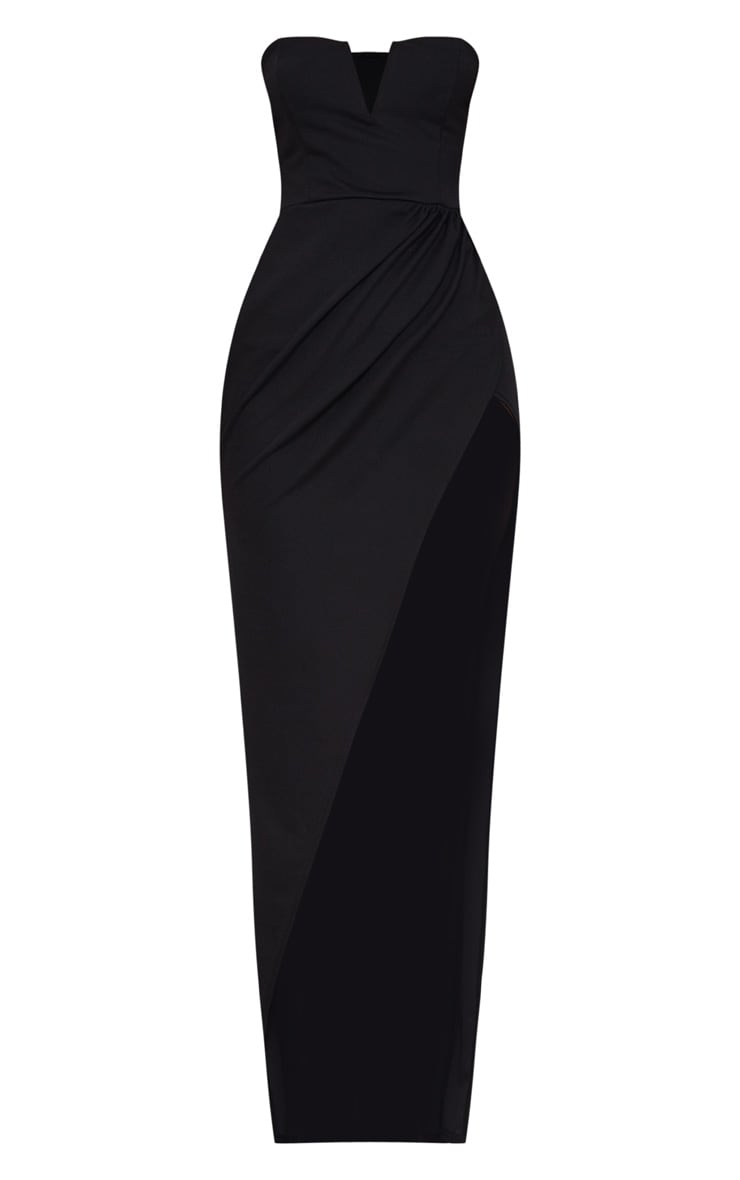 Black Bandeau V Bar Wrap Detail Maxi Dress 3