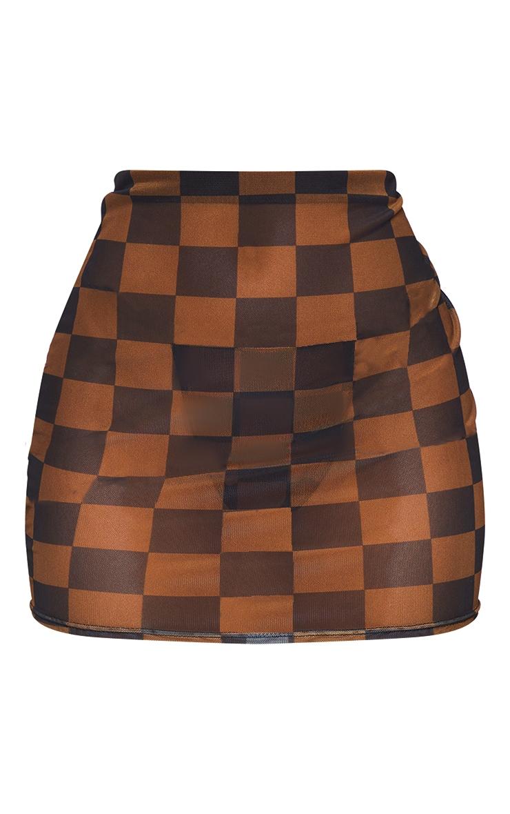 Brown Checkerboard Mesh Mini Beach Skirt 6