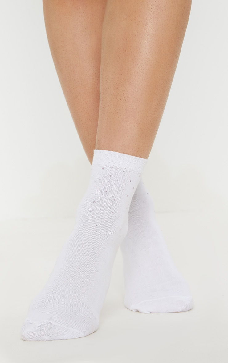 White Diamante Ankle Socks 3