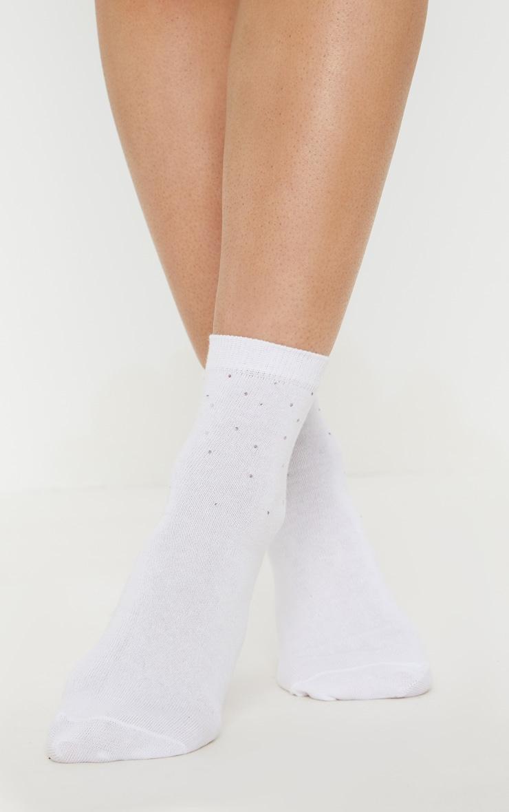 White Diamante Ankle Socks 2