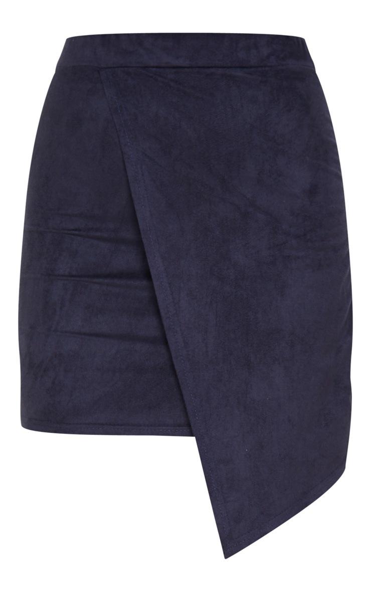 Navy Faux Suede Wrap Mini Skirt 3