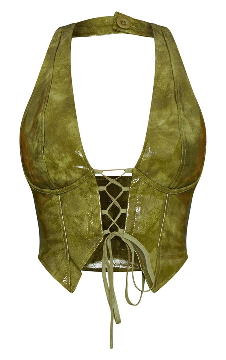 Olive Washed Faux Leather Lace Up Plunge Halterneck Top 5