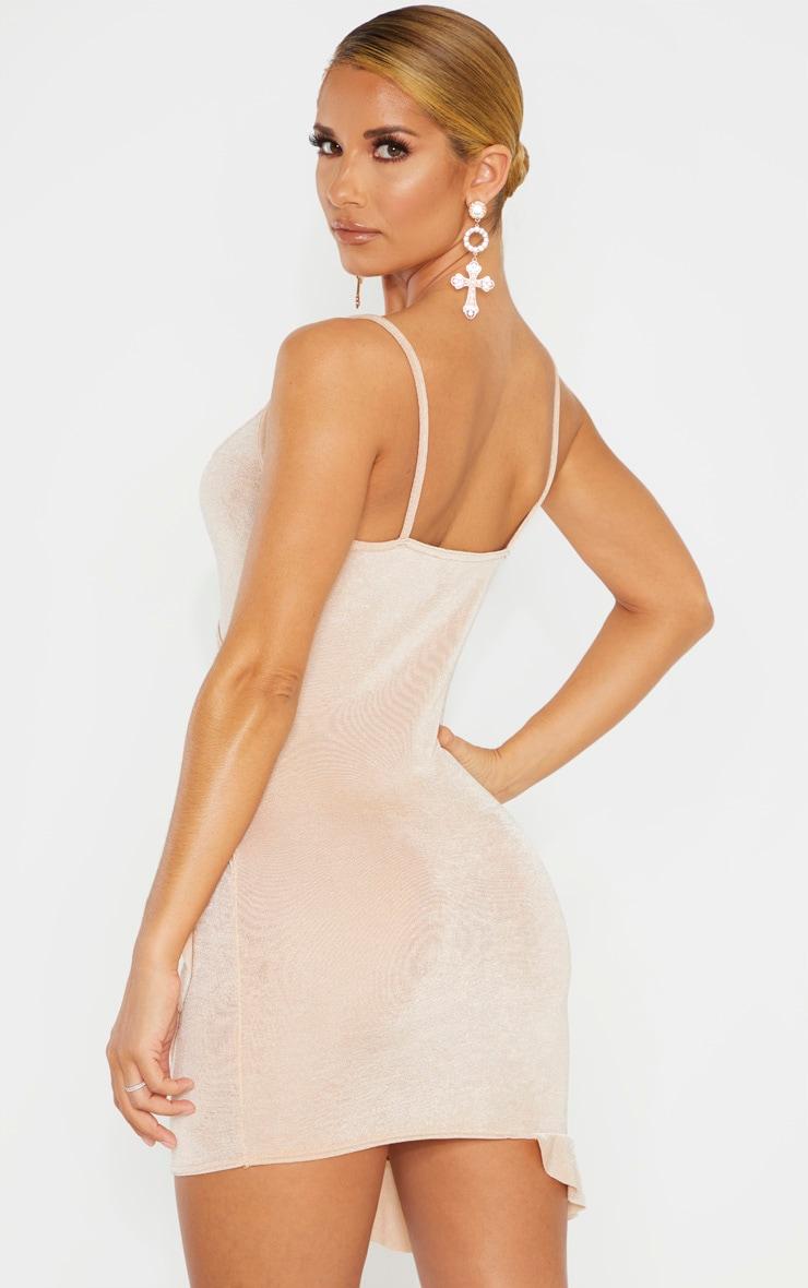 Champagne Textured Slinky Frill Hem Strappy Bodycon Dress 2
