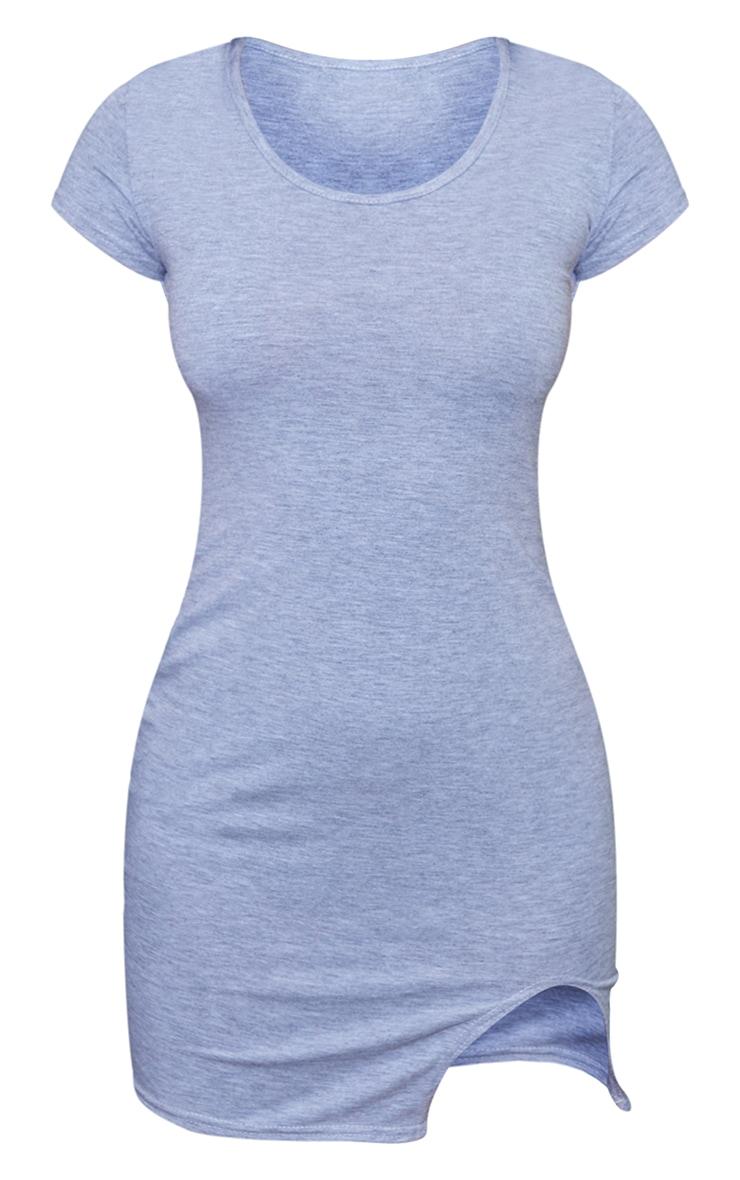 Petite - Mini robe gris chiné à ourlet fendu et manches courtes 6