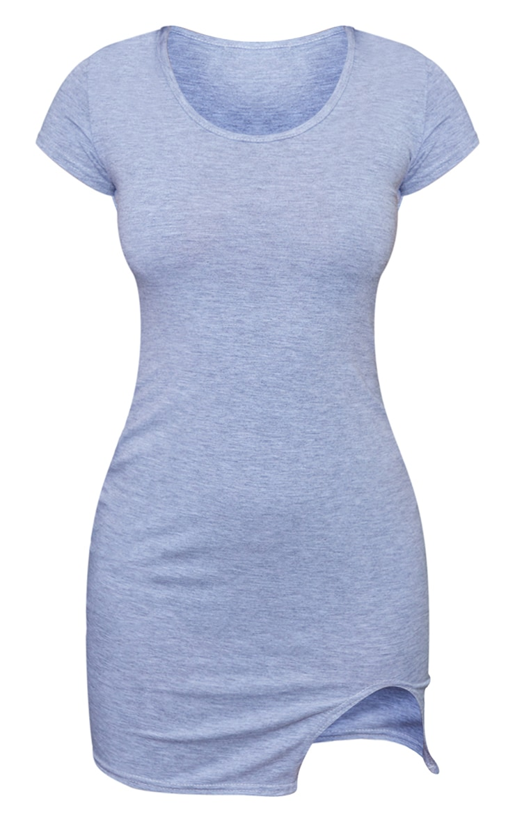 Petite Grey Marl Cap Sleeve Split Hem Mini Dress 6