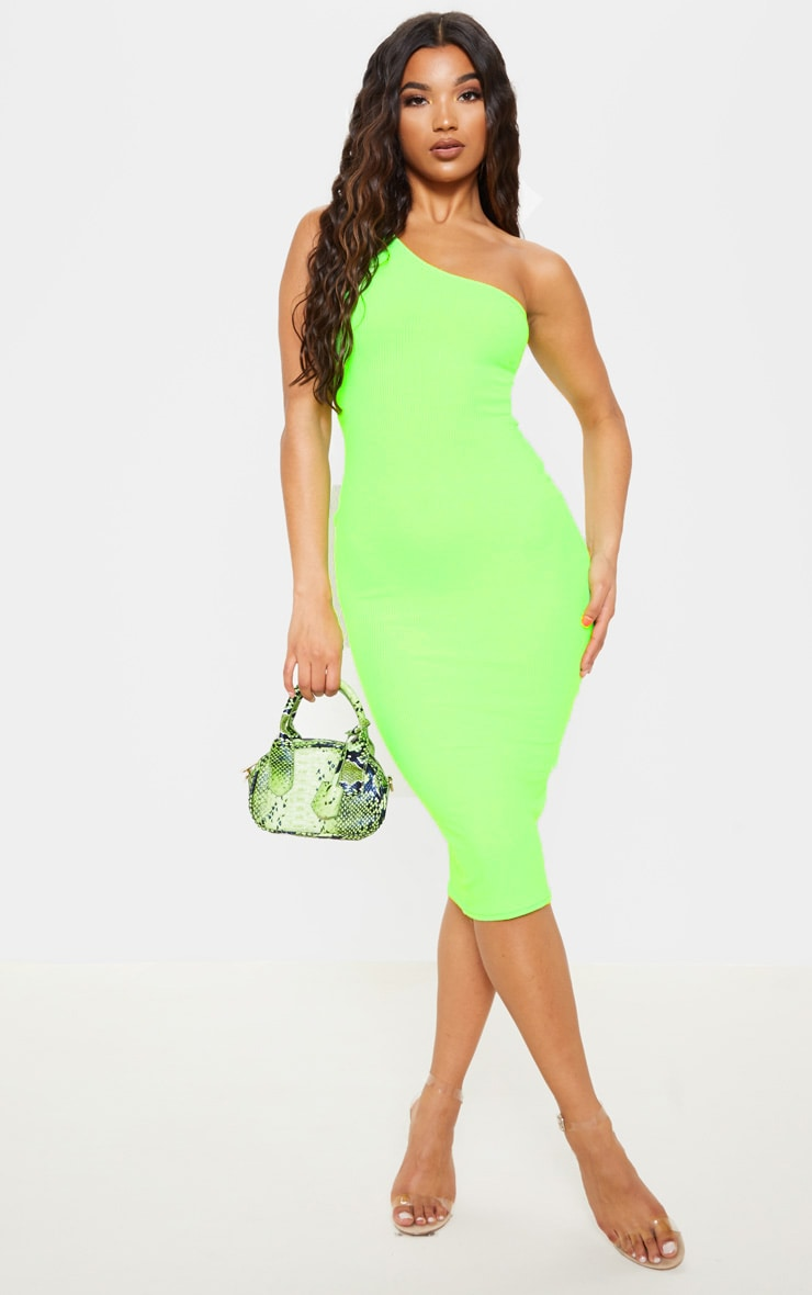 Neon Lime Ribbed One Shoulder Midi Dress 4