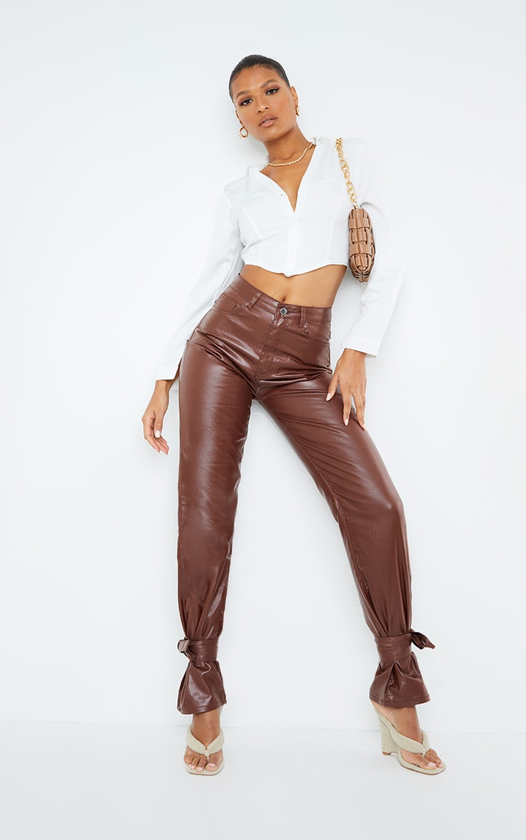 Chocolate Tied Hem Coated Straight leg Jean 1