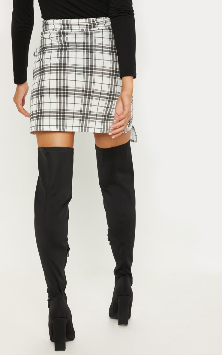Black Check Belted Waist Frill Detail Mini Skirt 3