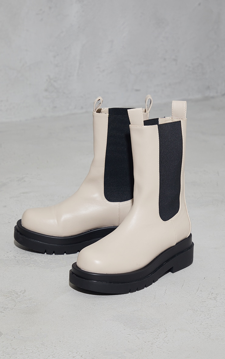 Cream Calf High Chunky Chelsea Boot 4