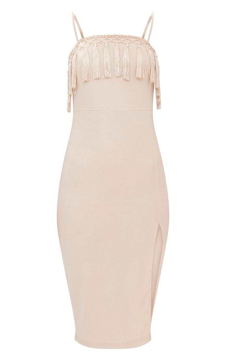 Nude Strappy Tassel Detail Side Split Midi Dress 3