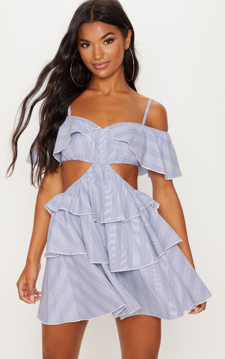 Black Stripe Bardot Tiered Cut Out Shift Dress 1