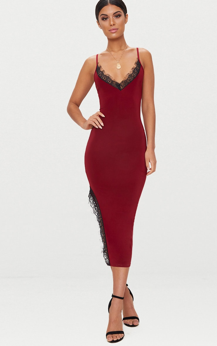 Burgundy Strappy Lace Trim Plunge Split Midi Dress 4