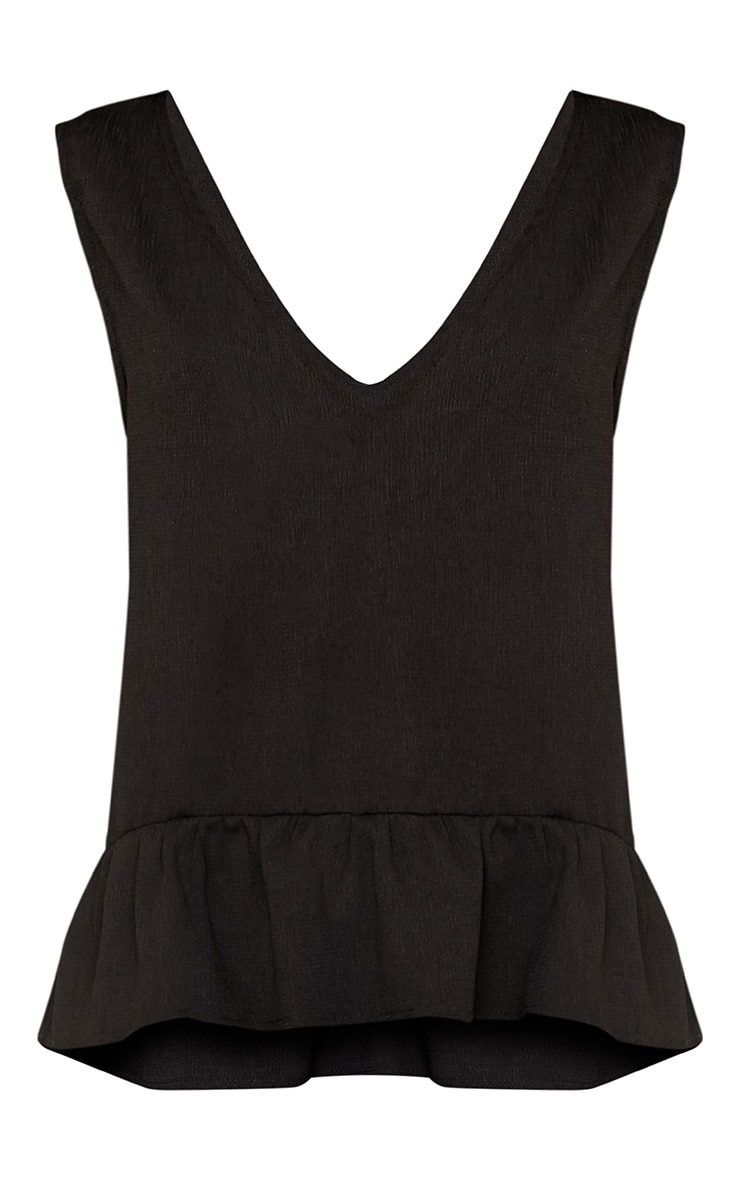Angelina Black Woven V Back Plunge Frill Blouse 3
