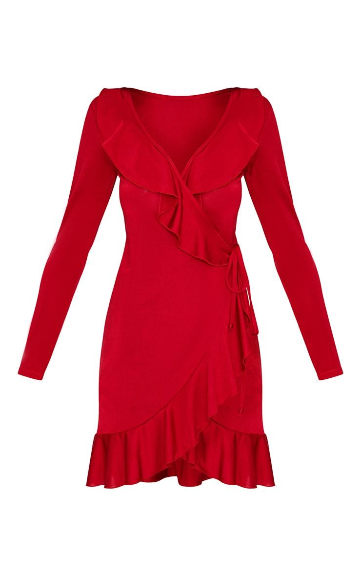 Kirstin Red Frill Wrap Shift Dress 3