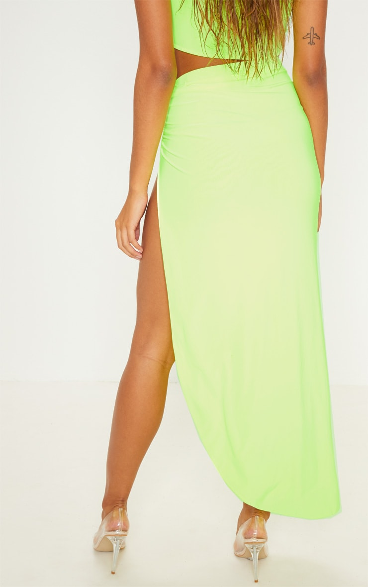 Neon Yellow Ruched Side Split Midaxi Skirt 4