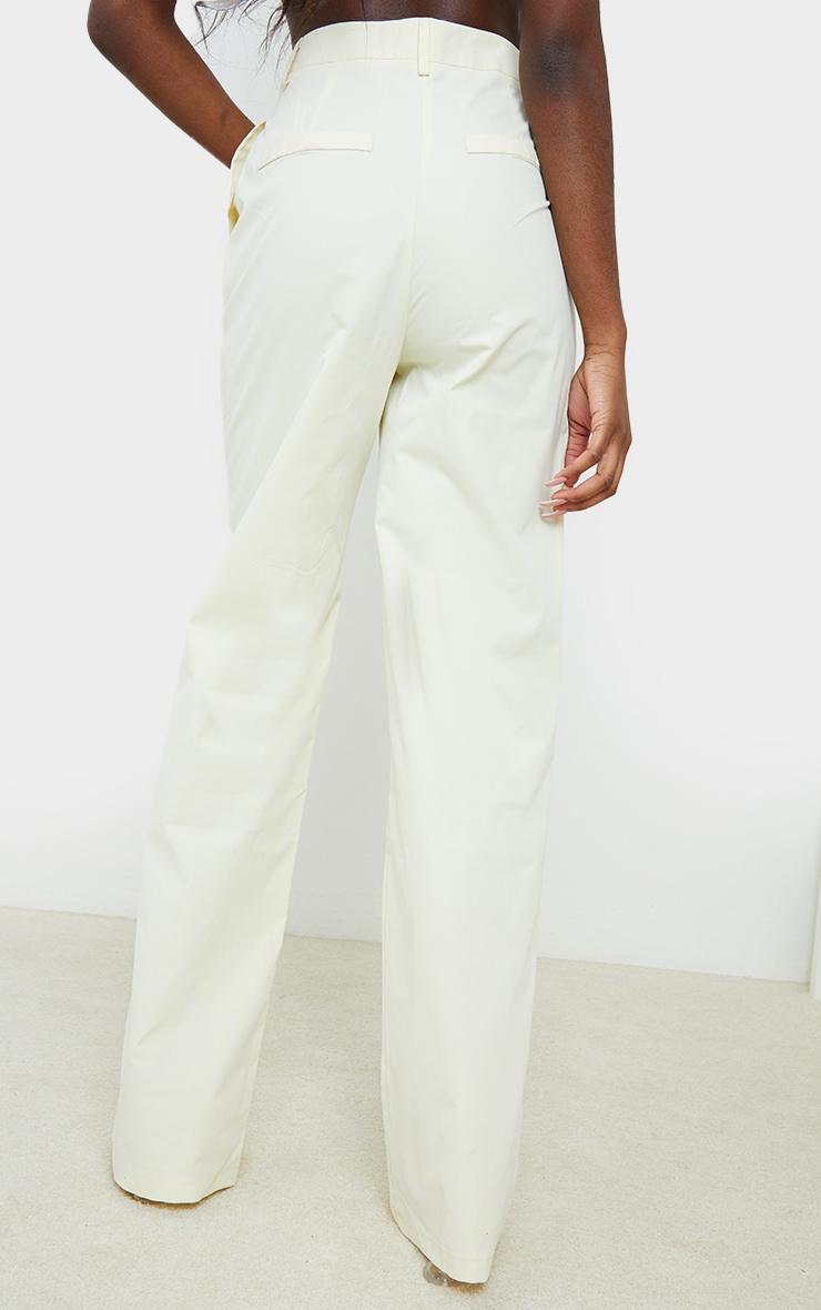 Cream Peach Skin Straight Leg Pants 3