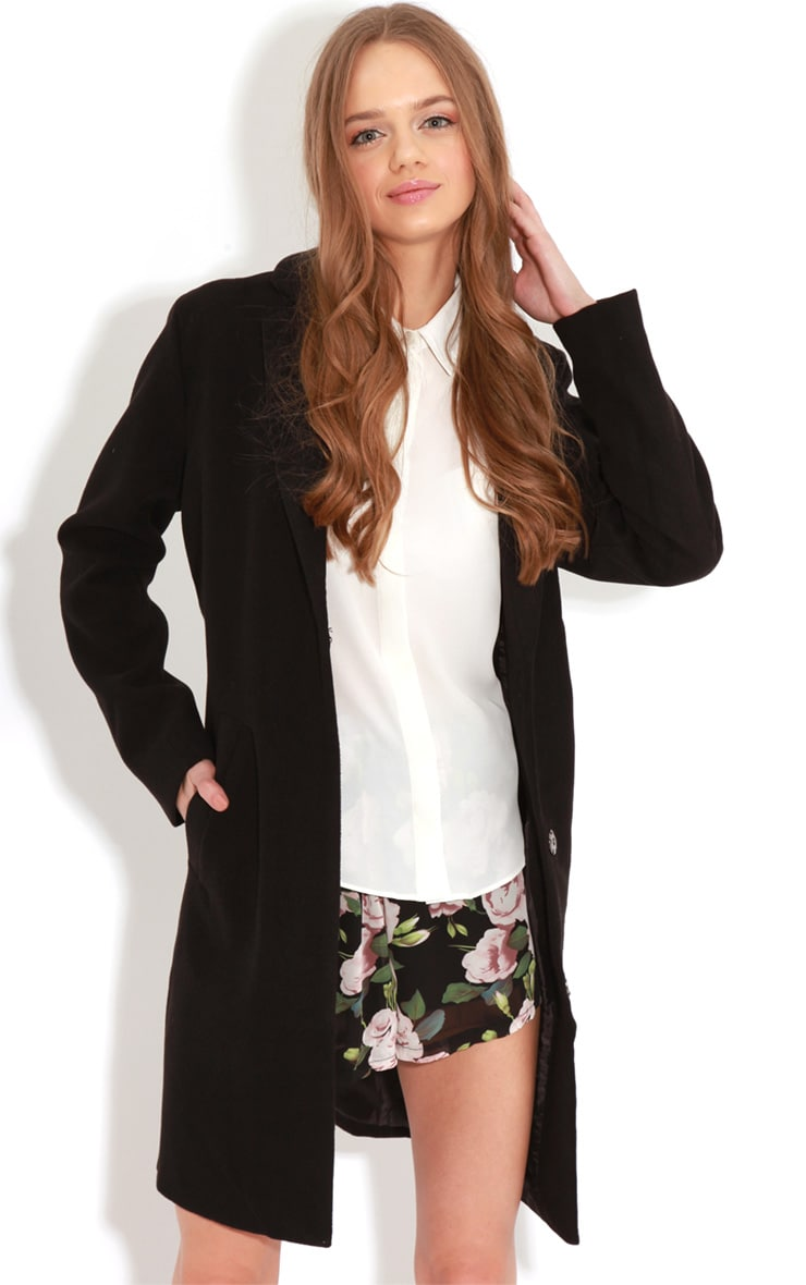 Avril Black Longline Boyfriend Coat  5