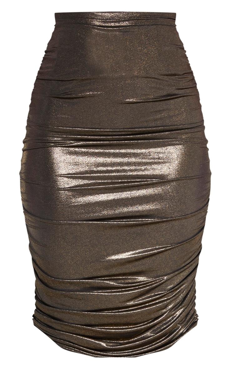 Gold Metallic Textured Ruched Midi Skirt  3
