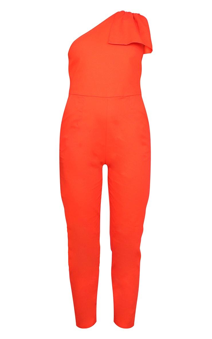 Orange One Shoulder Woven Sleeveless Jumpsuit 3