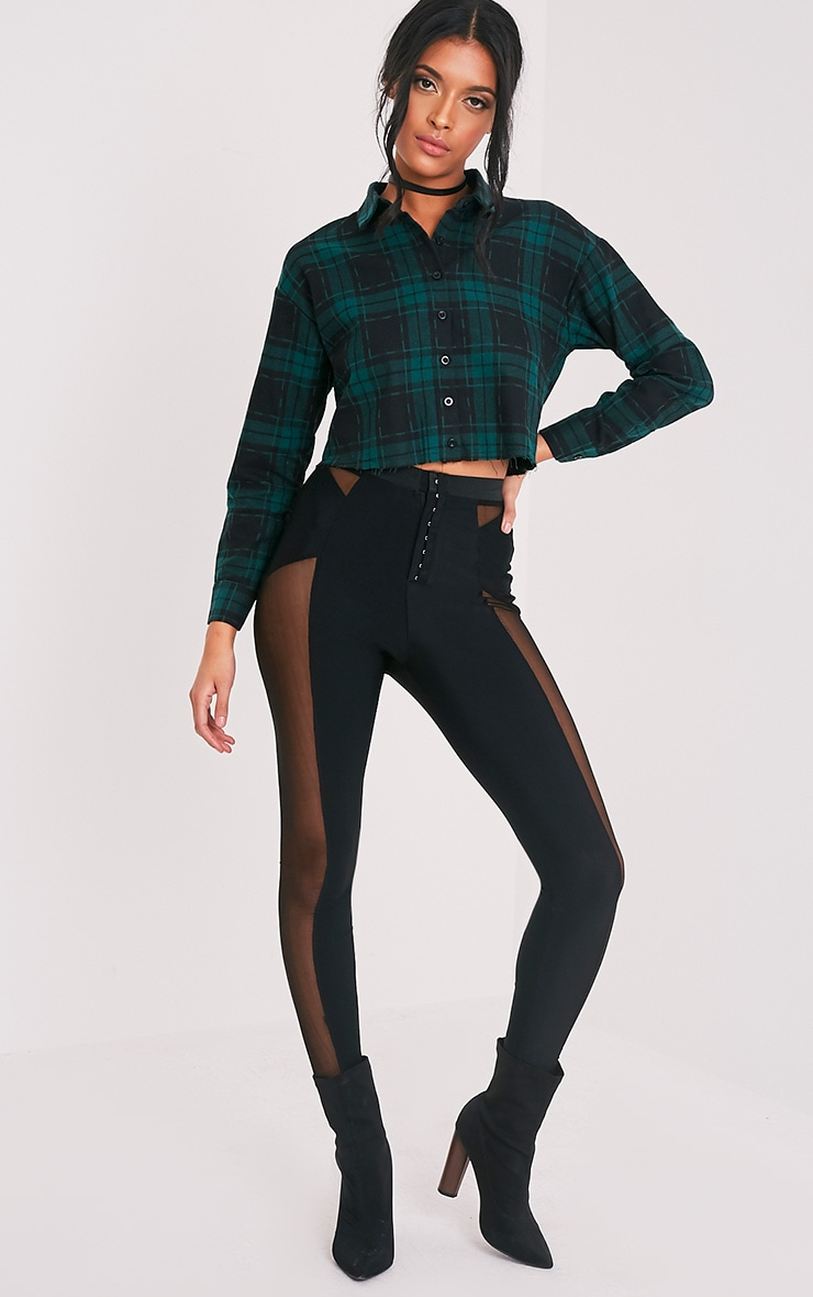 Giselle Green Checked Raw Hem Cropped Shirt 5
