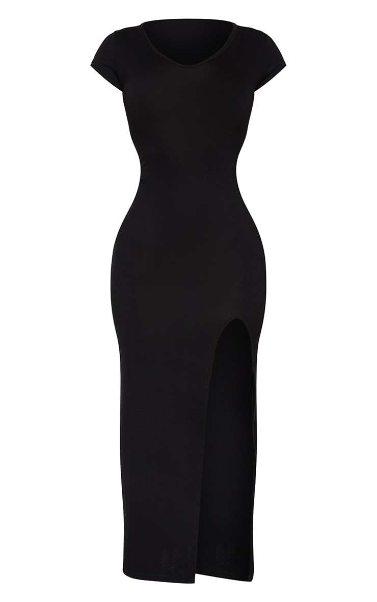 Petite Black Jersey T Shirt Midi Dress 6
