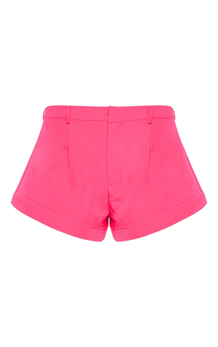 Hot Pink Woven Turn Up Hem Structured Short 4
