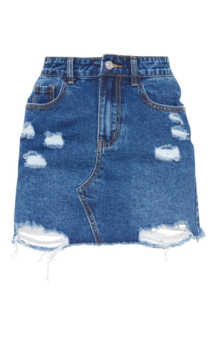 Dark Wash Distressed Mini Skirt 3